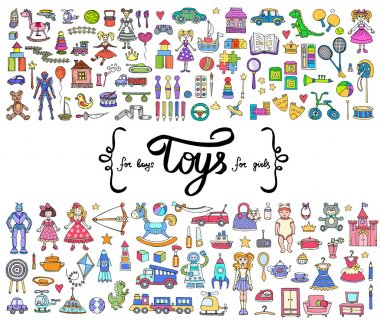 Vector set with hand drawn colored doodles of toys for boys and girls. Flat illustrations on the theme of activities for children, games. Sketches for use in design stock vector