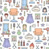 Fotografie Vector seamless pattern with hand drawn colored fashion and beauty symbols.  Pattern on the theme of hair salon