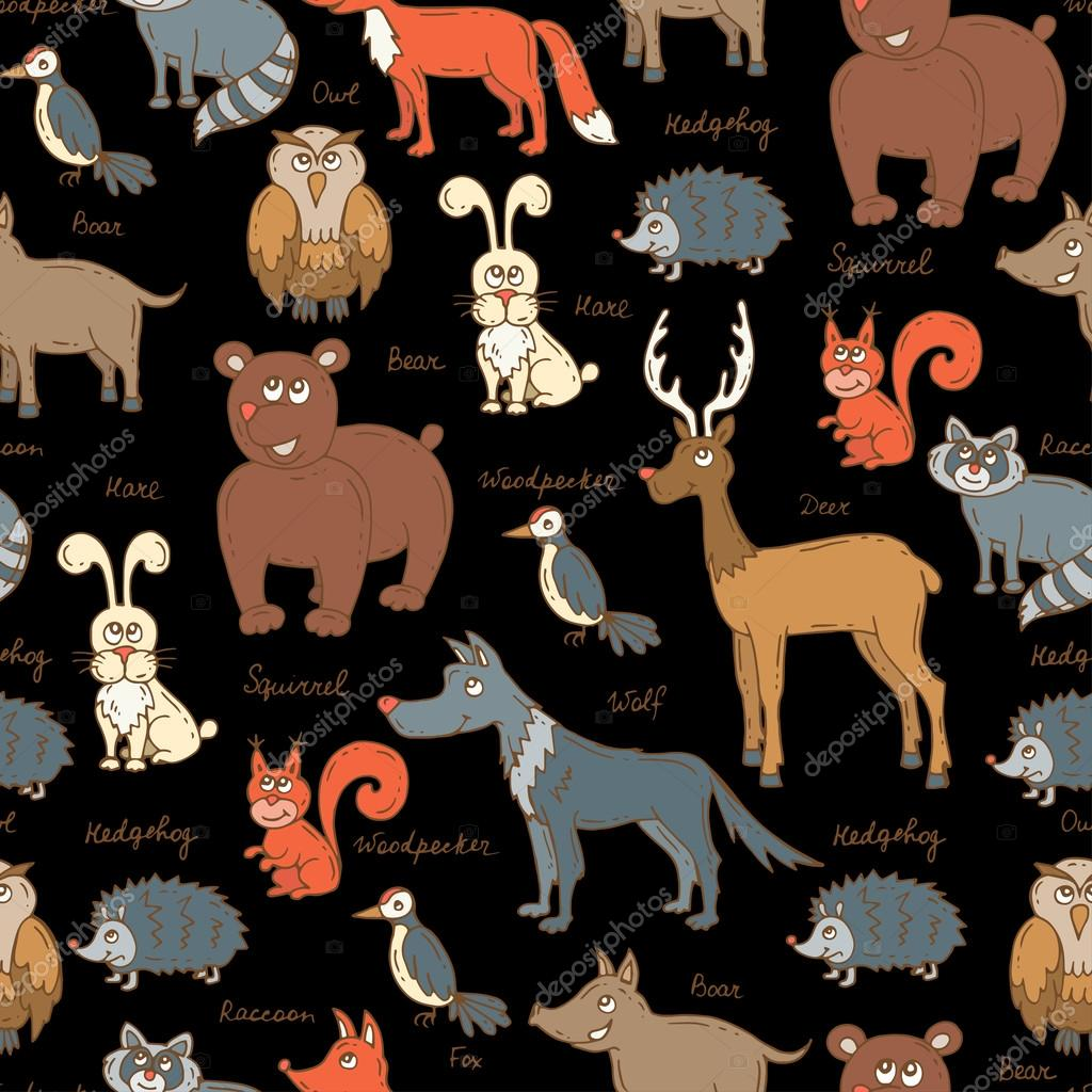Vector seamless pattern with hand drawn colored forest animals on black color