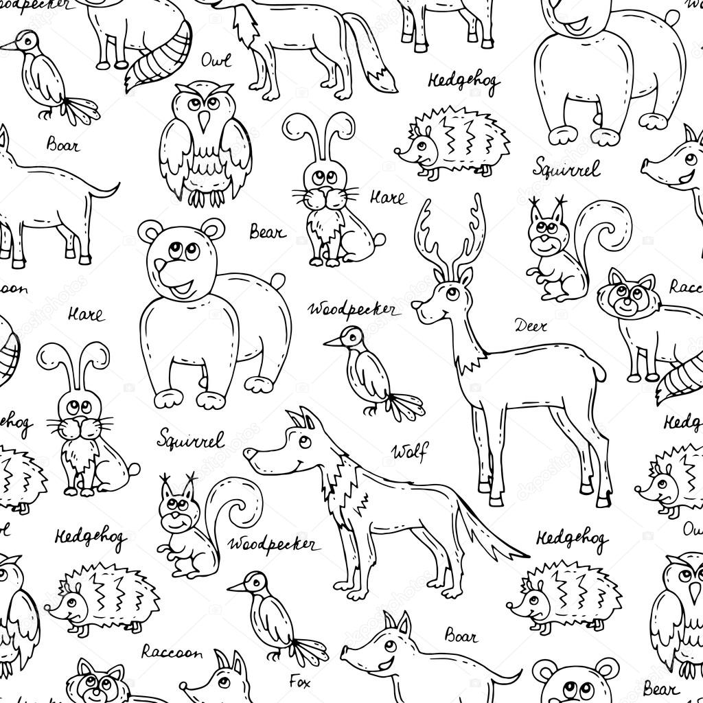 Vector seamless pattern with hand drawn forest animals on white color