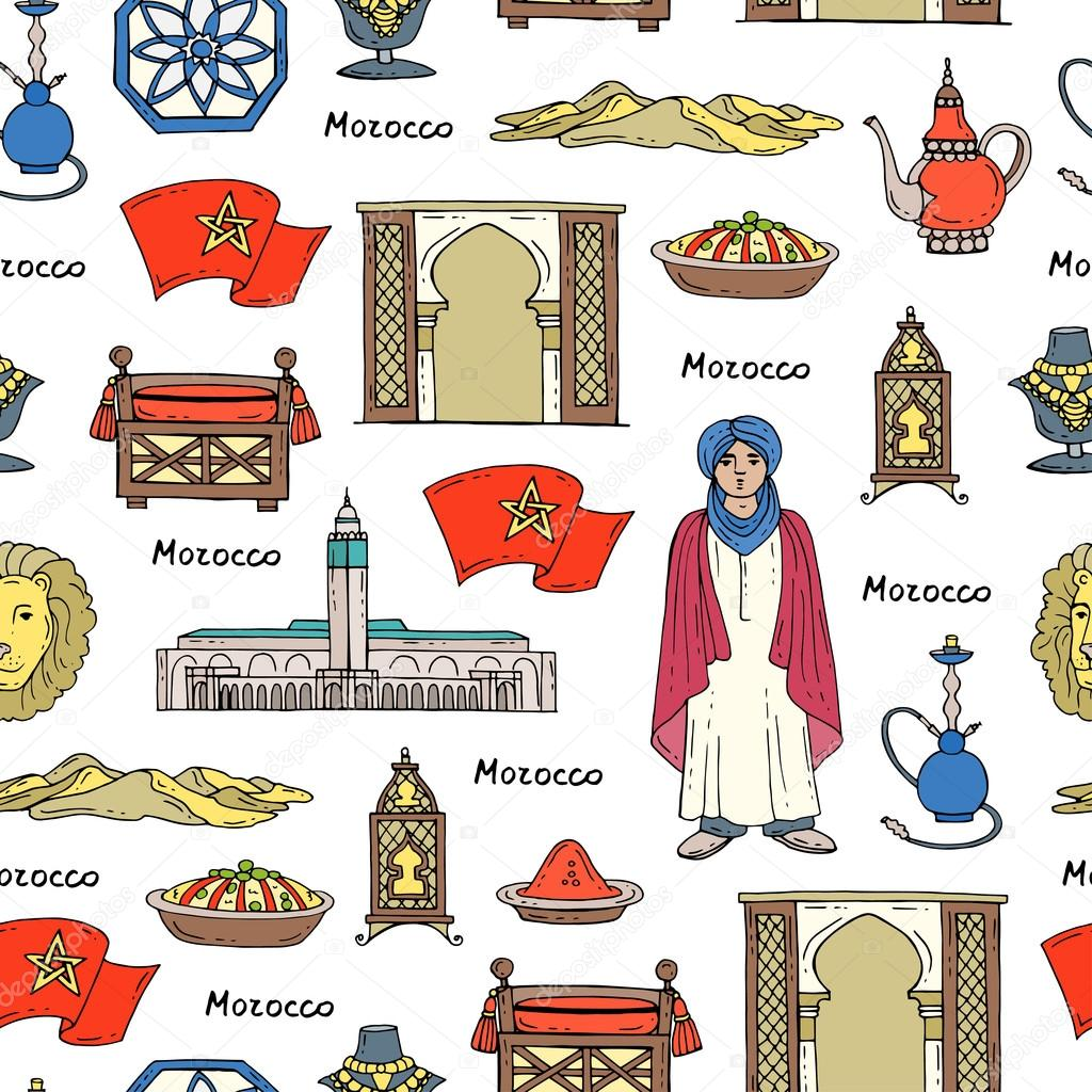 Vector Seamless Pattern With Hand Drawn Colored Symbols Of Morocco