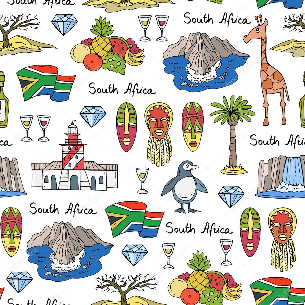 Vector Seamless Pattern With Hand Drawn Colored Symbols Of South