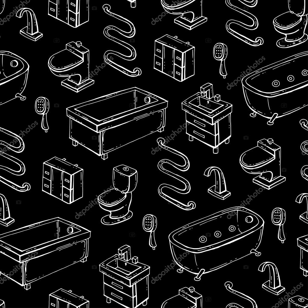 74c25b4512 Vector seamless pattern with hand drawn isolated bathroom equipment on black  color. Pattern on the theme of interiors. Background for use in design