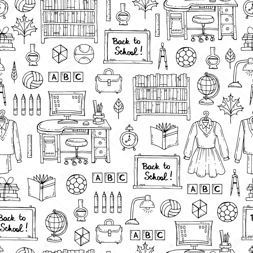 Vector Seamless Pattern With Hand Drawn Symbols Of School And