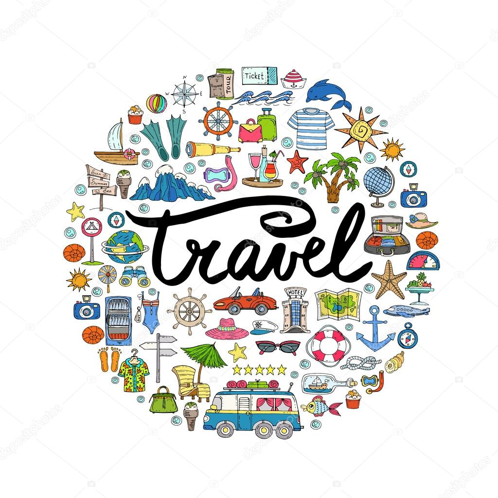 Cute Decorative Cover With Hand Drawn Colored Symbols Of Travel