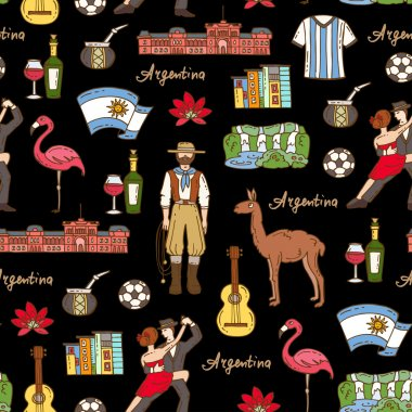 Vector seamless pattern with hand drawn colored symbols of Argentina on black color