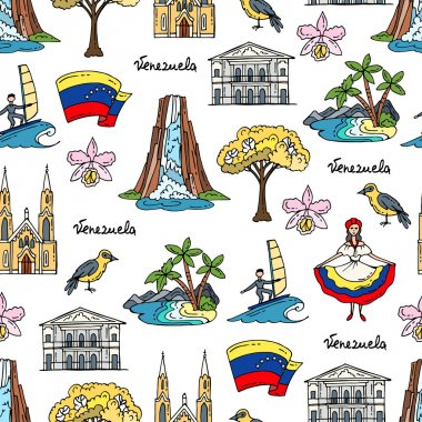 Vector seamless pattern with hand drawn colored symbols of Venezuela
