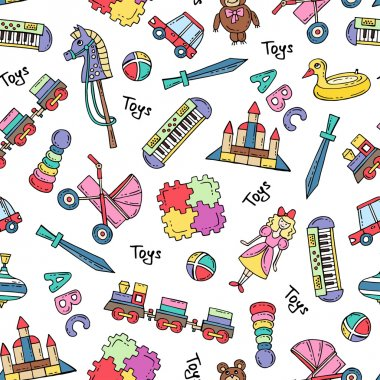 Vector seamless pattern with hand drawn colored toys for girls and boys