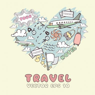Vector stylized heart on the theme of travel