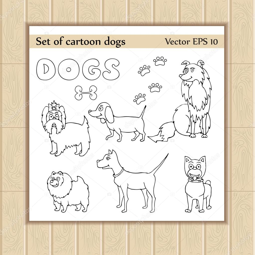 Vector set of painted and cartoon funny dogs