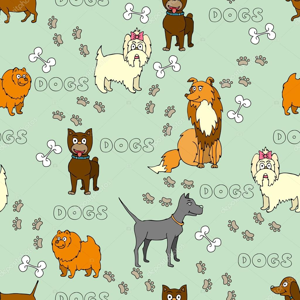 Vector pattern with painted and cartoon funny dogs