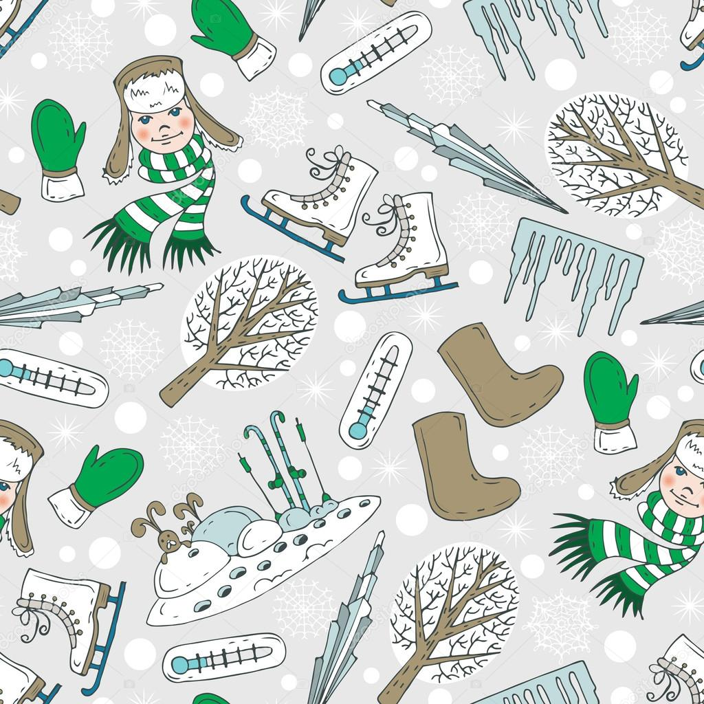 Vector pattern with winter cartoon symbols
