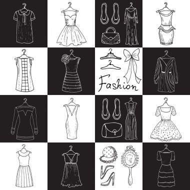 Vector pattern with dresses and accessories