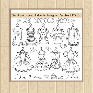 Vector set of hand drawn clothes for little girls
