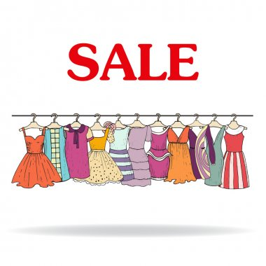 Vector illustration with sale of clothes for women