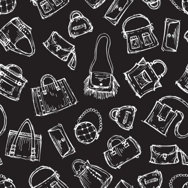 Vector pattern with hand drawn handbags on black