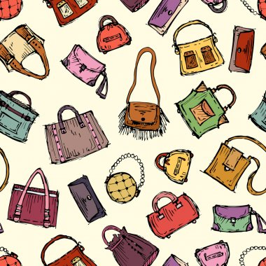 Vector pattern with hand drawn handbags