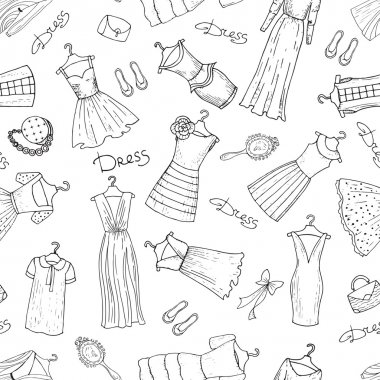 Vector pattern with dresses on white background