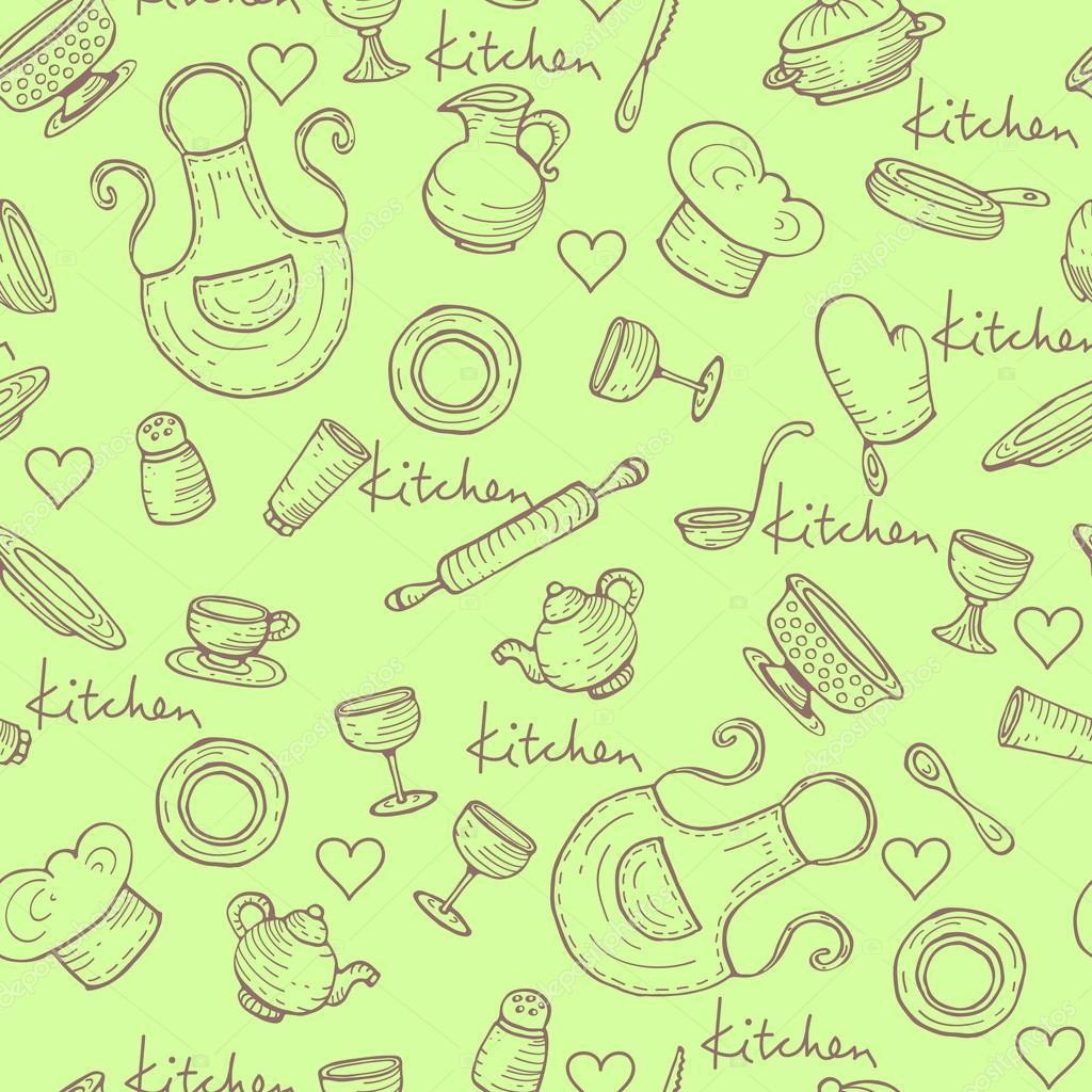 Padr O De Vetor Com Utens Lios De Cozinha Desenhos Animados Em  ~ Desenho Utensílios De Cozinha