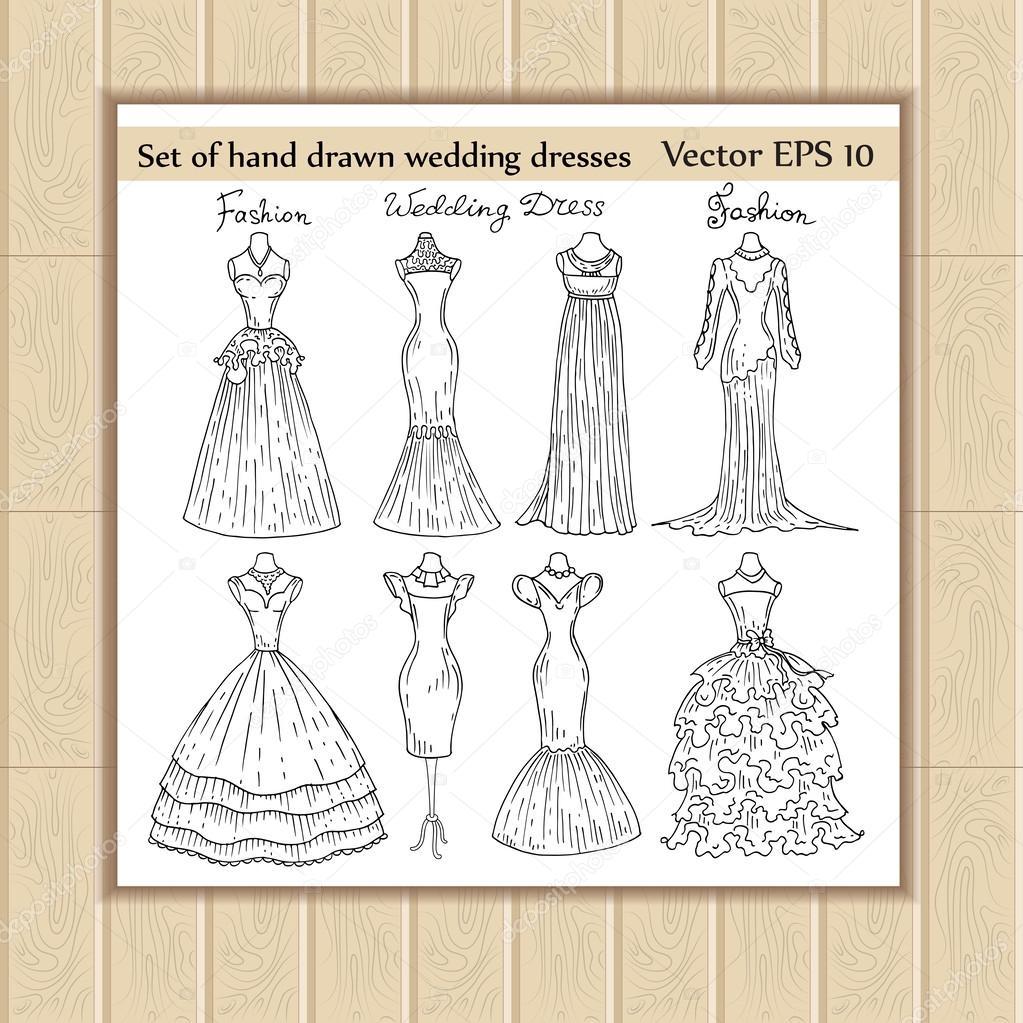 Vector set of hand drawn wedding dresses