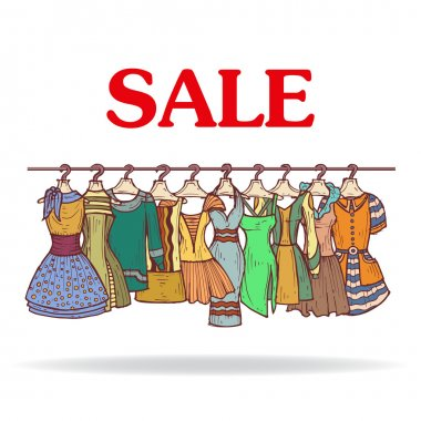 Vector illustration with sale of fashionable dresses for women