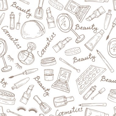 Vector pattern with attributes of cosmetics in white