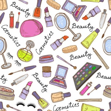 Vector pattern with hand drawn attributes of cosmetics
