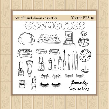 Vector set of hand drawn cosmetics sketches