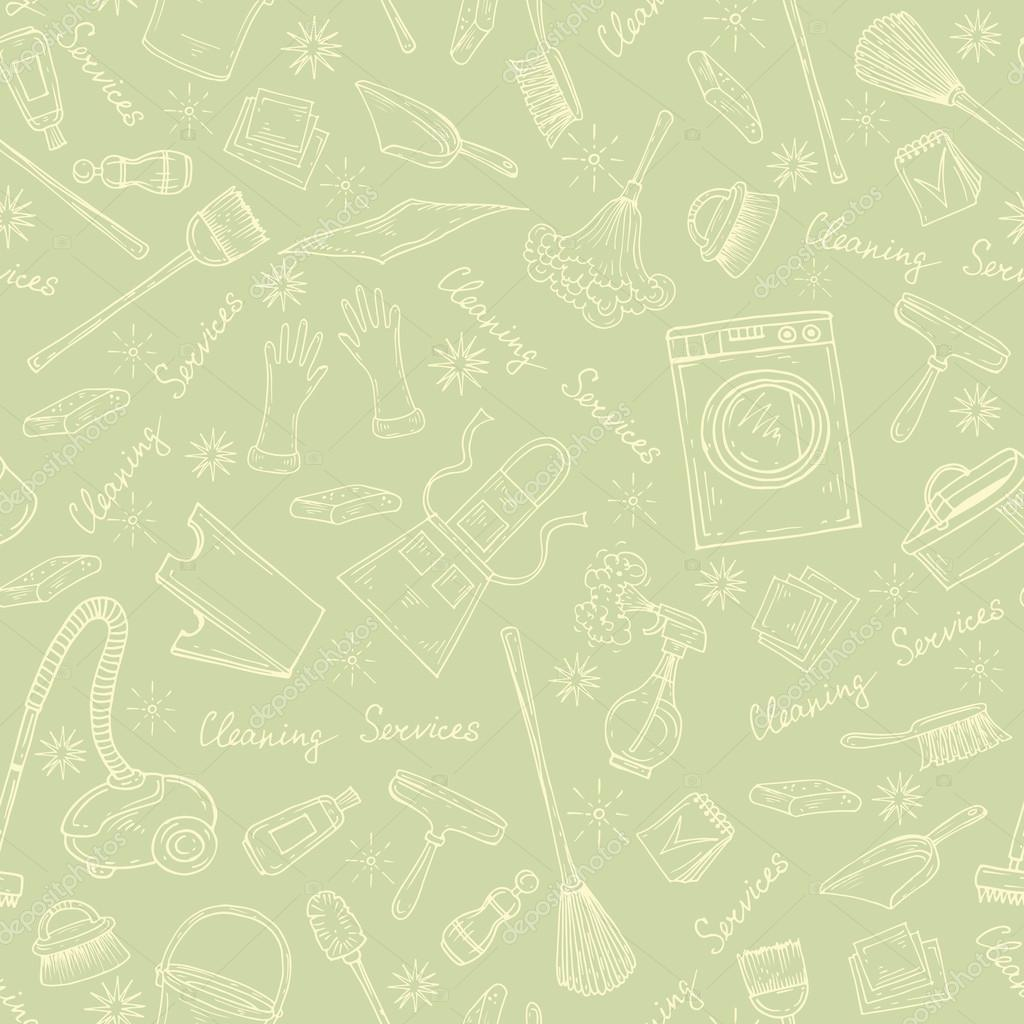 Vector Pattern With Symbols Of Cleaning Services In Green Stock