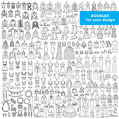Fotografie Vector set with doodles of fashionable clothes and accessories