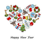 stilisierte Herz mit Symbolen der frohes neues Jahr