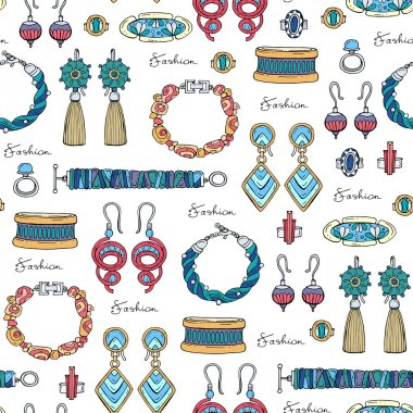 Pattern with hand drawn fashionable jewelry