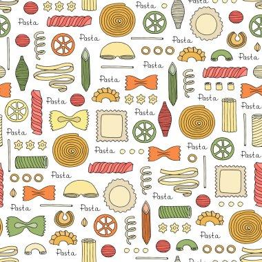 Pattern with hand drawn Italian pasta