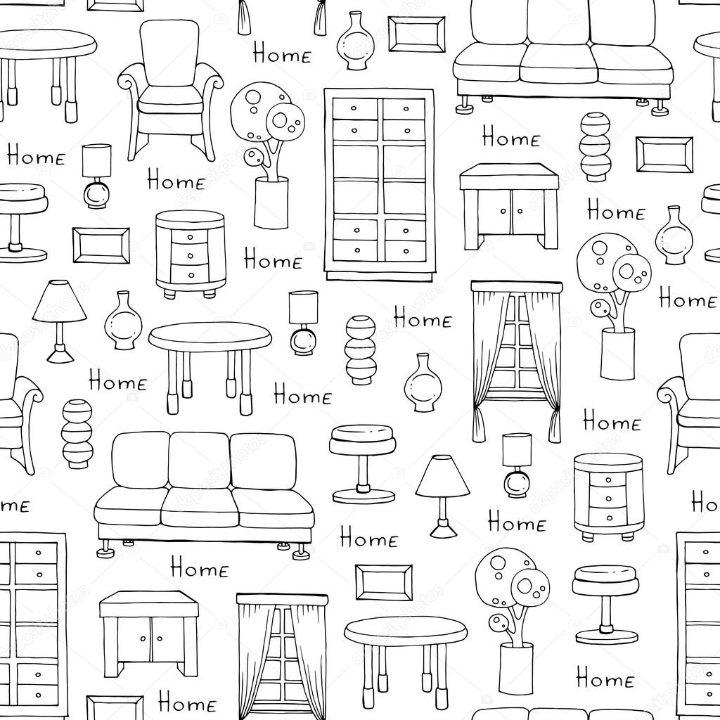 pattern furniture. Pattern With Hand Drawn Furniture On White Color \u2014 Stock Vector C