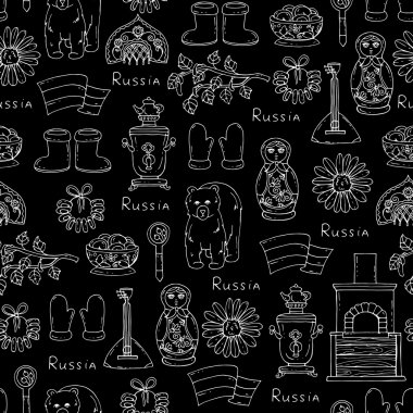 Pattern with symbols of Russia on black color