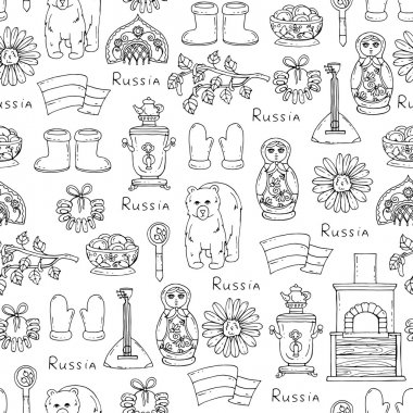 Pattern with symbols of Russia on white color