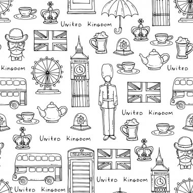 Pattern with symbols of United Kingdom on white