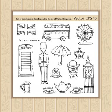 Set with doodles on the theme of United Kingdom