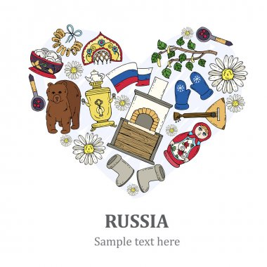 Stylized heart with hand drawn symbols of Russia