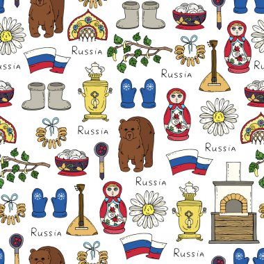 Vector seamless pattern on the theme of Russia