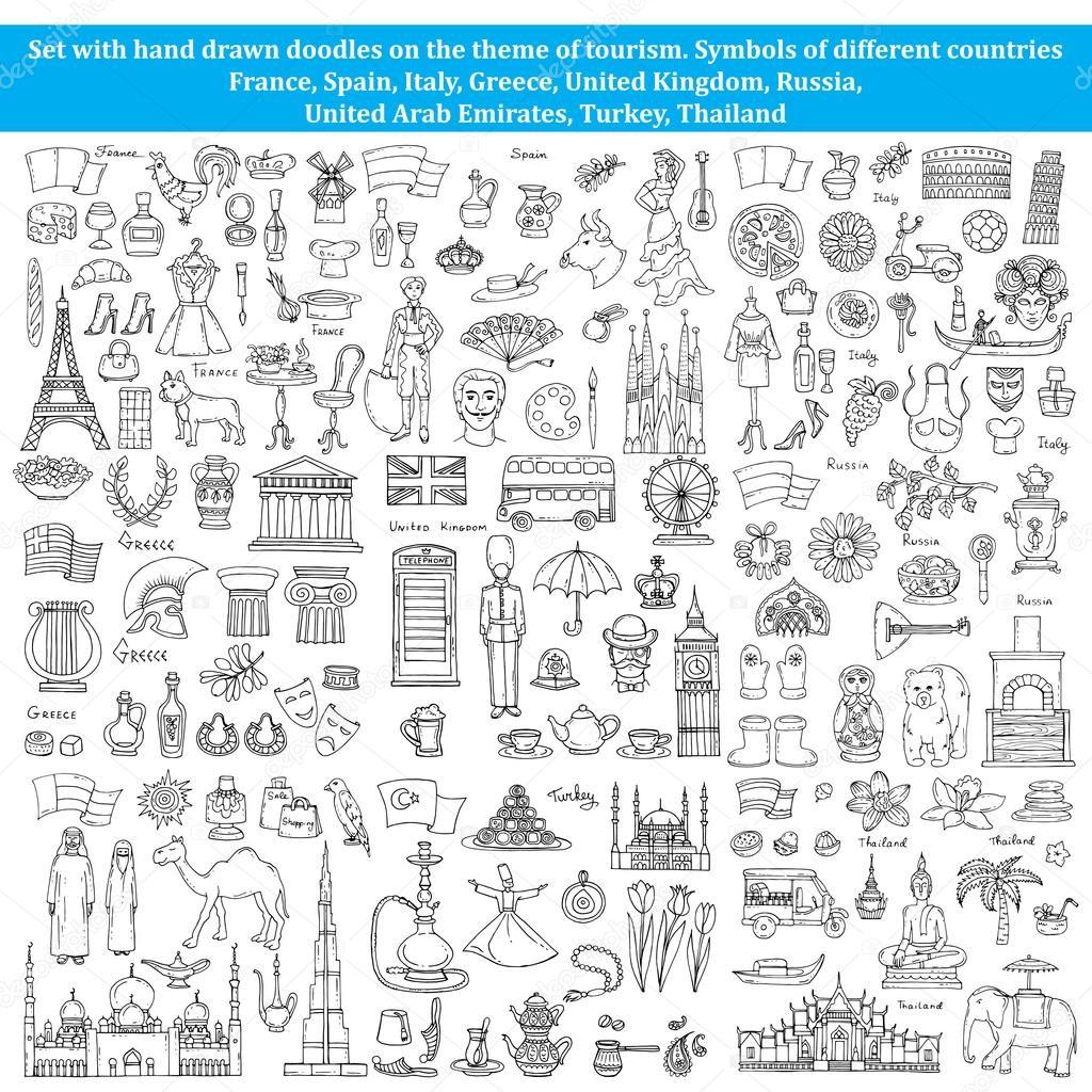 conjunto de desenhos sobre o tema dos países da europa Ásia