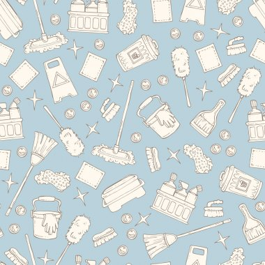 Pattern on the theme of cleaning services company on gray