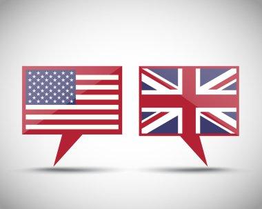American British conversation speech bubbles