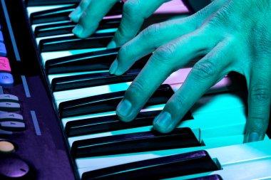 close up shot of a piano at a party
