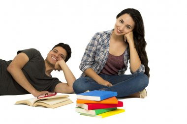 students reading friends