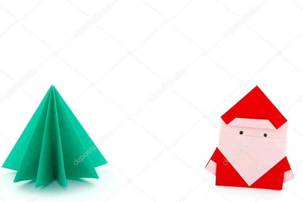 Origami Papa Noel Origami De Papa Noel Y Arbol De Navidad Foto - Origami-papa-noel