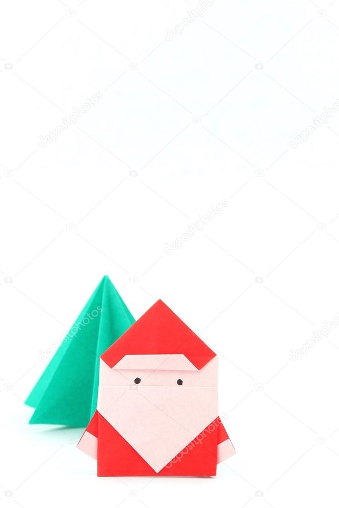Origami Navidad Papa Noel Origami De Papa Noel Y Arbol De Navidad - Origami-papa-noel