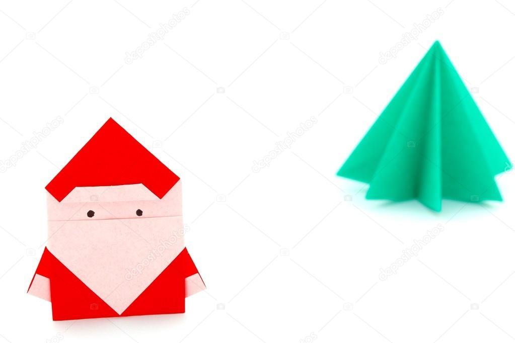 Origami De Papa Noel Y Arbol De Navidad Fotos De Stock - Origami-papa-noel