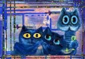 Fotografie Drei Katzen liebt Absinth