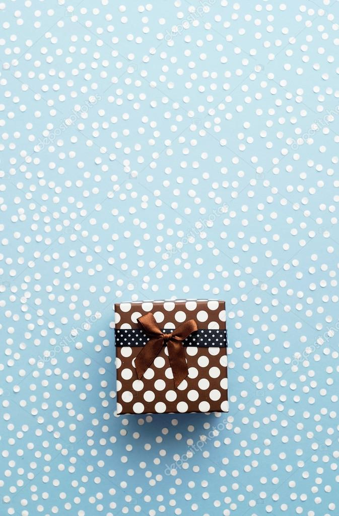 Christmas Gift Box with snow confetti